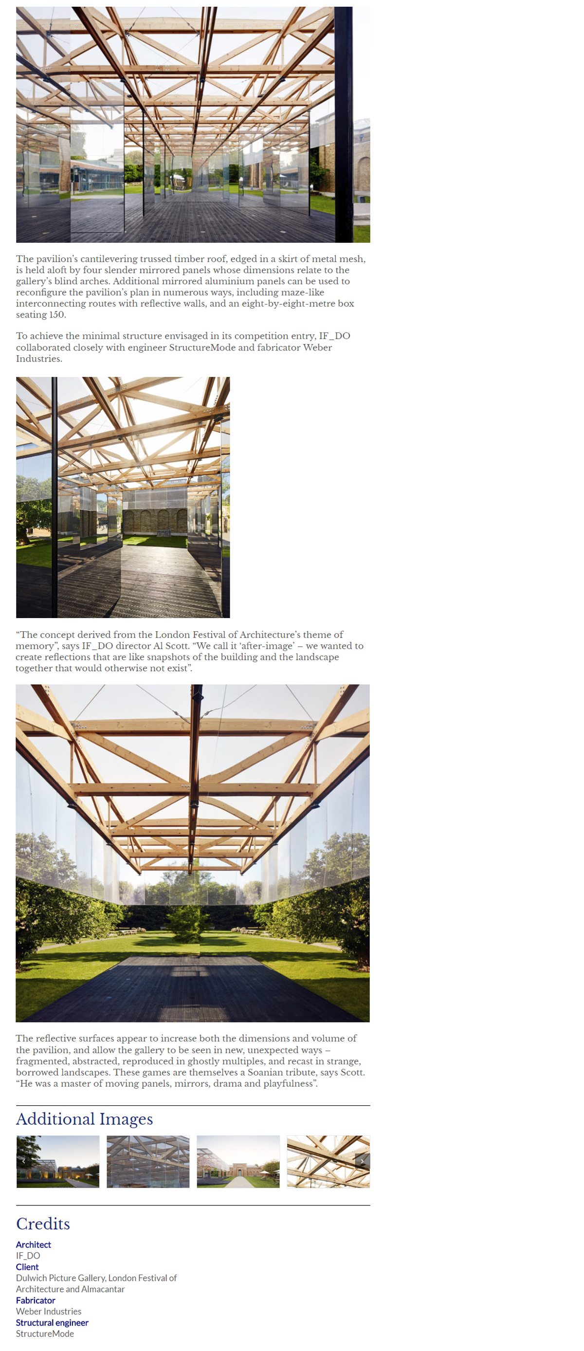 lightweight timber roof pavilion competition winner dulwich